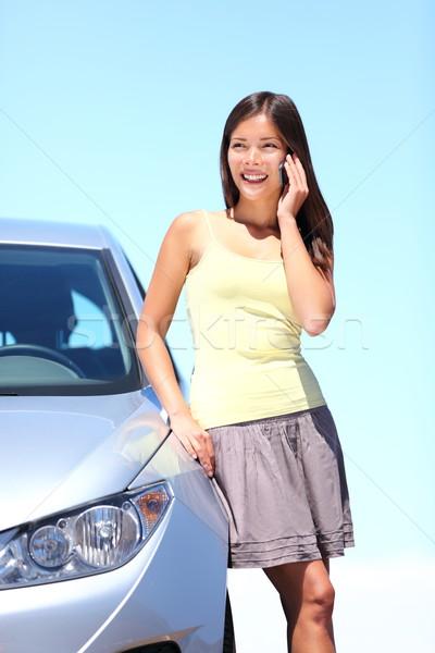 Сток-фото: автомобилей · мобильного · телефона · Постоянный · говорить · счастливым