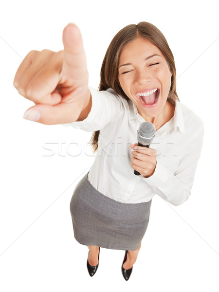 Woman singing or making a point Stock photo © Maridav