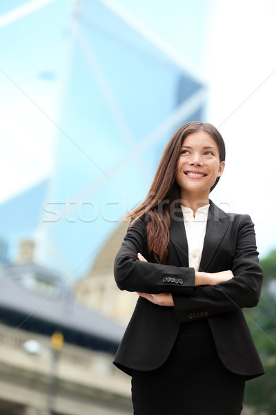 Asian zakenvrouw outdoor Hong Kong permanente trots Stockfoto © Maridav