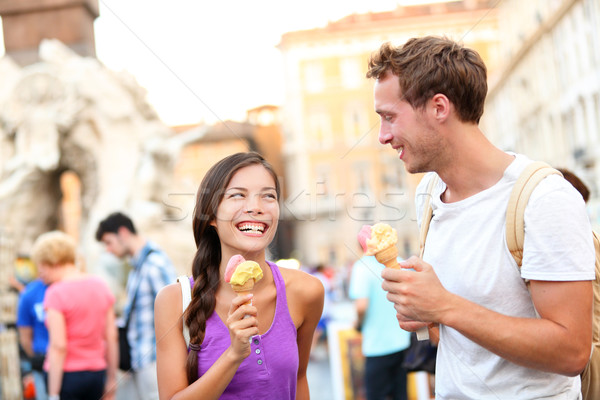 Ice cream - couple eating gelato in Rome Stock photo © Maridav