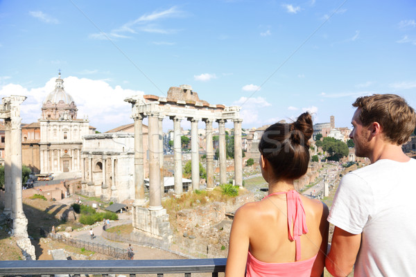 Roman Forum tourists looking at landmark in Rome Stock photo © Maridav
