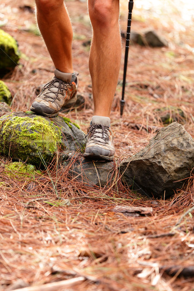 Hiker - close up of male hiking shoes and boots Stock photo © Maridav
