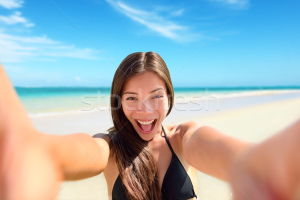 Selfie fun woman taking photo at beach vacation Stock photo © Maridav
