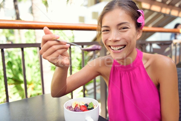 Ciotola donna mangiare sano alimentare felice sorridere Foto d'archivio © Maridav