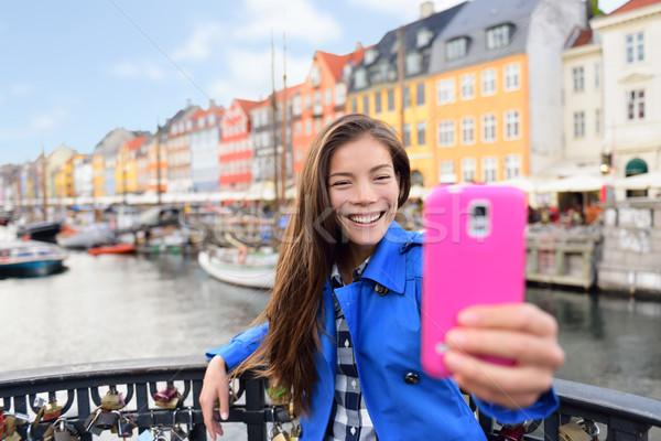 туристических азиатских женщину Копенгаген известный Сток-фото © Maridav