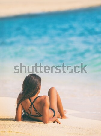 Stock photo: Beach summer vacation woman relaxing sunbathing