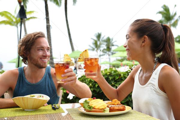 Stockfoto: Paar · zomervakantie · dranken · gelukkig · Hawaii