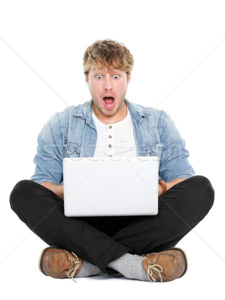 Laptop computer man shocked Stock photo © Maridav