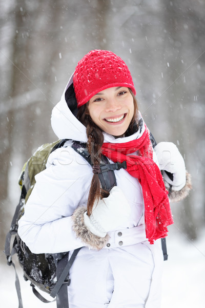 Cheerful Asian woman in falling snow Stock photo © Maridav