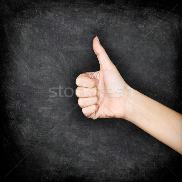 Like - Likes hand giving thumbs up on blackboard Stock photo © Maridav