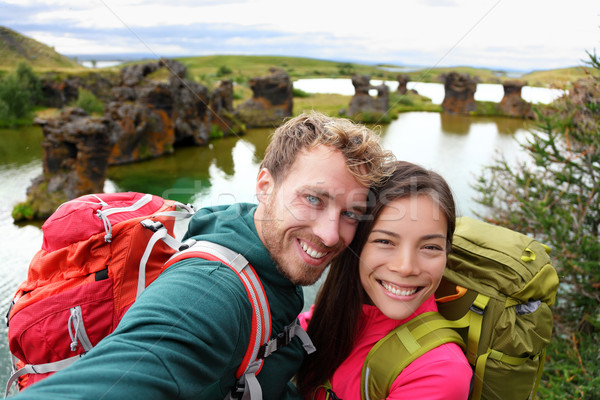 Selfie - travel couple on lake Myvatn Iceland Stock photo © Maridav