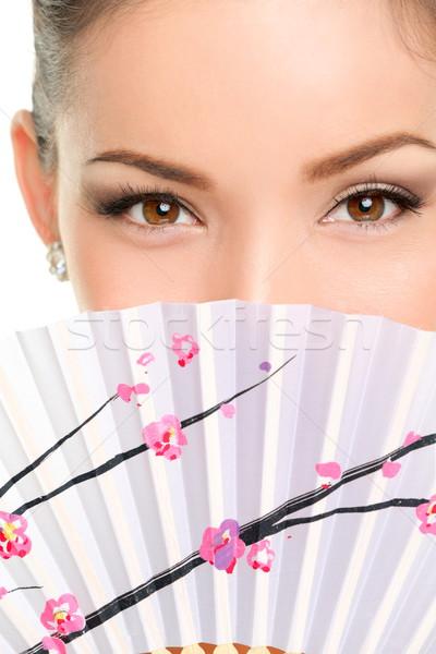 Gözler makyaj Asya bakmak kâğıt fan Stok fotoğraf © Maridav