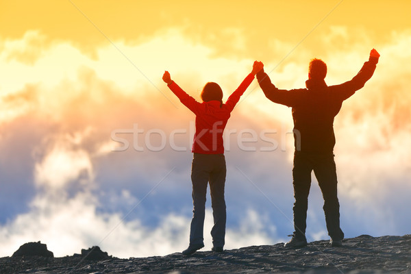 Happy winners reaching life goal - success people Stock photo © Maridav
