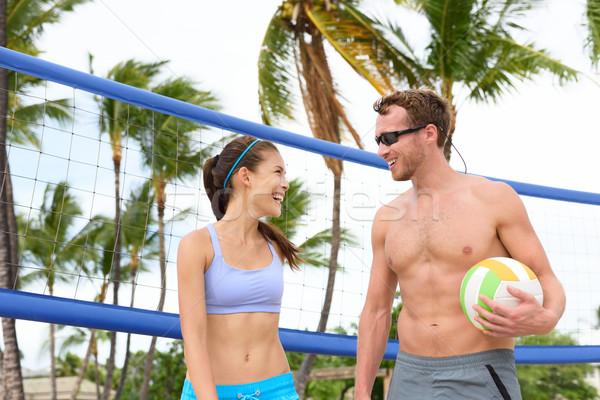 Praia voleibol pessoas jogar ativo estilo de vida Foto stock © Maridav
