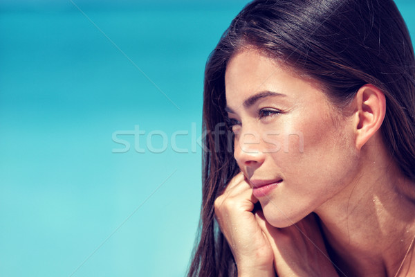 Young Asian beauty woman face skincare portrait Stock photo © Maridav