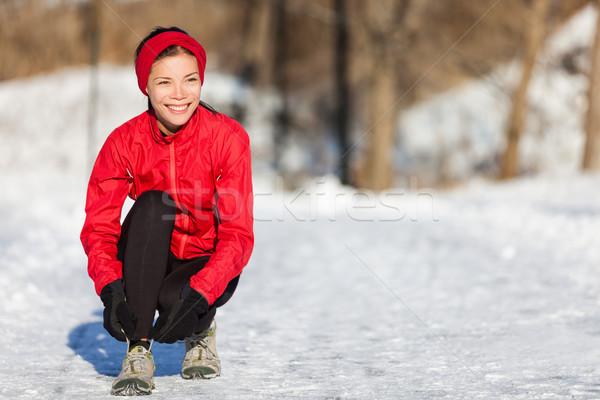 Stockfoto: Winter · lopen · vrouw · klaar · lopen · sneeuw