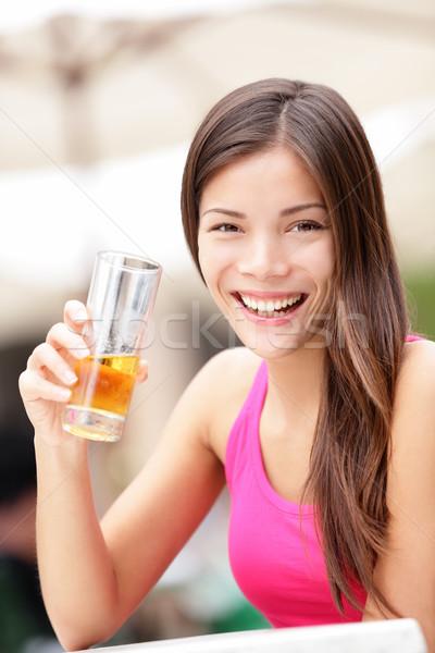 Happy cafe woman drinking drink Stock photo © Maridav