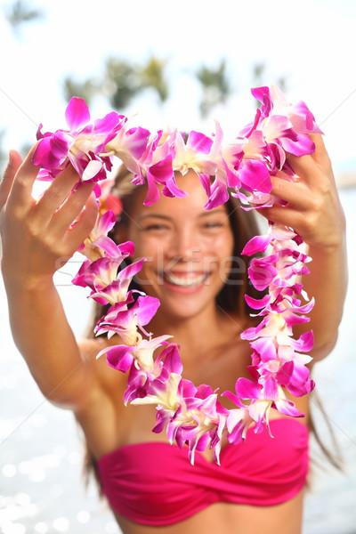 Гавайи женщину цветок гирлянда розовый Сток-фото © Maridav