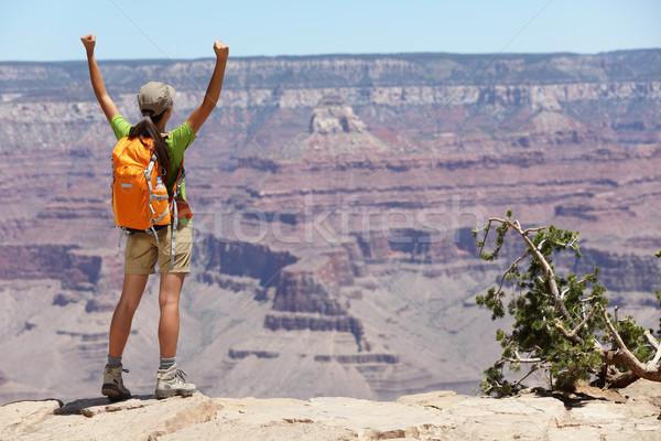 Grand Canyon hiking woman hiker happy and cheerful Stock photo © Maridav