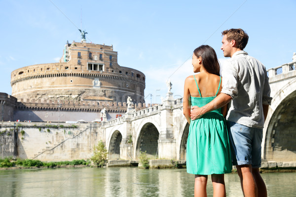 Rome travel tourists by Castel Sant'Angelo Stock photo © Maridav