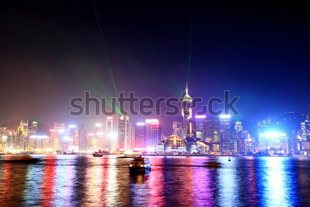 Hongkong panoramę port kolorowy City Lights noc Zdjęcia stock © Maridav