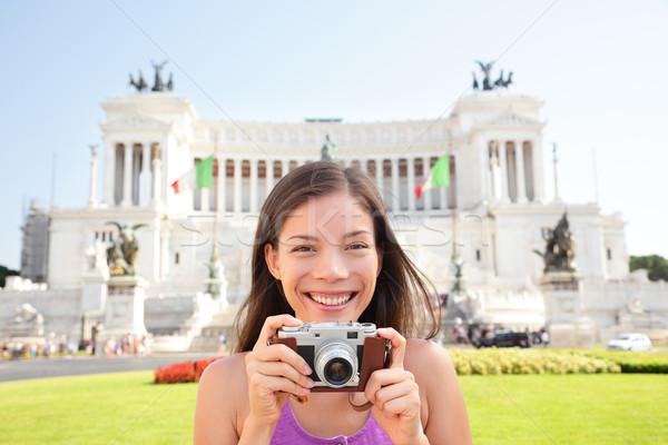 Rome tourist taking photo picture on retro camera Stock photo © Maridav