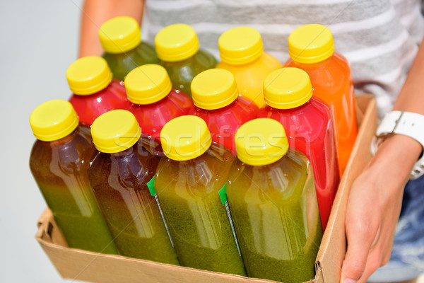 Orgânico vegetal suco garrafas plástico Foto stock © Maridav