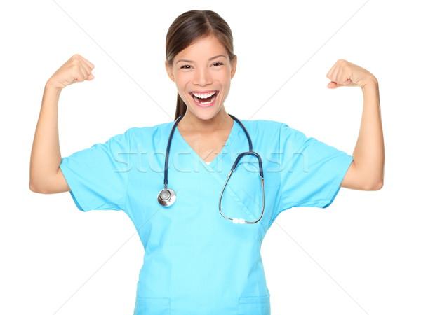 Stock photo: Nurse muscle power strength