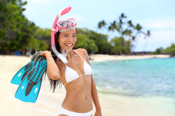 Stock photo: Beach vacation snorkel woman with mask and fins