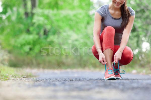 Scarpe da corsa primo piano donna scarpa femminile sport Foto d'archivio © Maridav