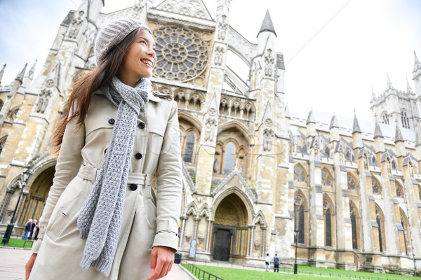 Westminster Abbey church London with young woman Stock photo © Maridav
