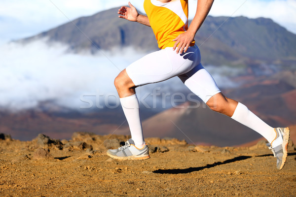Trail running - male runner in cross country run Stock photo © Maridav