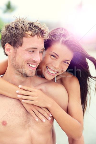 Gelukkig romantische paar liefhebbers strand huwelijksreis Stockfoto © Maridav