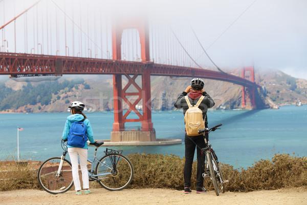 Golden Gate Bridge paar sightseeing San Francisco USA Stockfoto © Maridav
