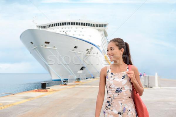 Crucero vacaciones feliz femenino turísticos muelle Foto stock © Maridav