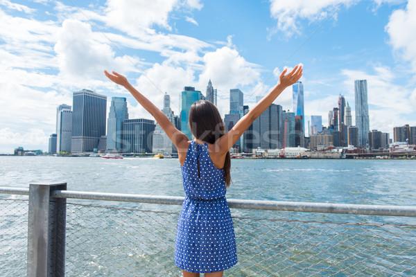 Stock fotó: Boldog · szabadság · nő · éljenez · belváros · New · York