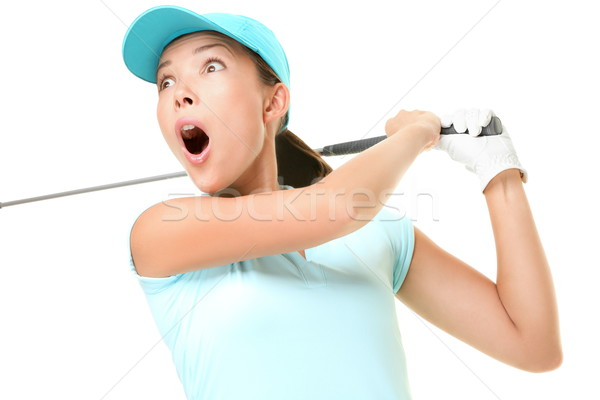 Stock photo: Golf swing - woman playing isolated