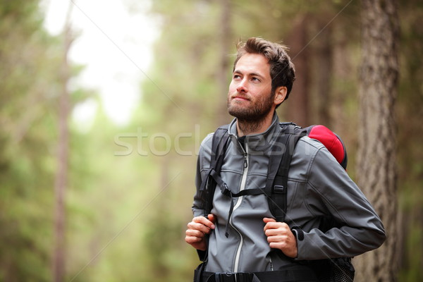 Hiker - man hiking in forest Stock photo © Maridav