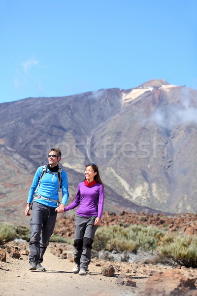 Couple hiking outdoors Stock photo © Maridav
