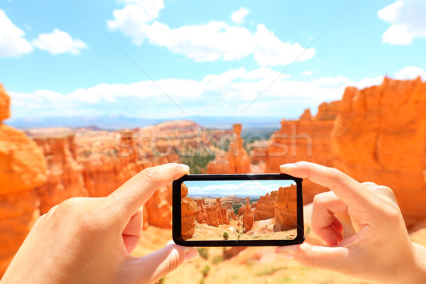 Smartphone taking photo of Bryce Canyon nature Stock photo © Maridav