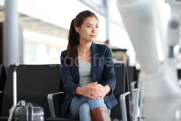 аэропорту женщину ждет Воздушные путешествия молодые случайный Сток-фото © Maridav