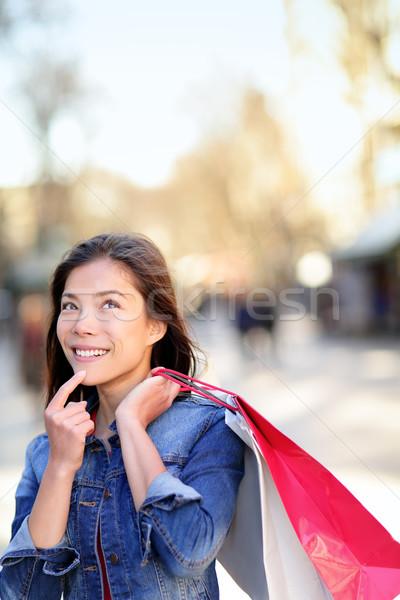Shopping woman thinking on La Rambla, Barcelona Stock photo © Maridav