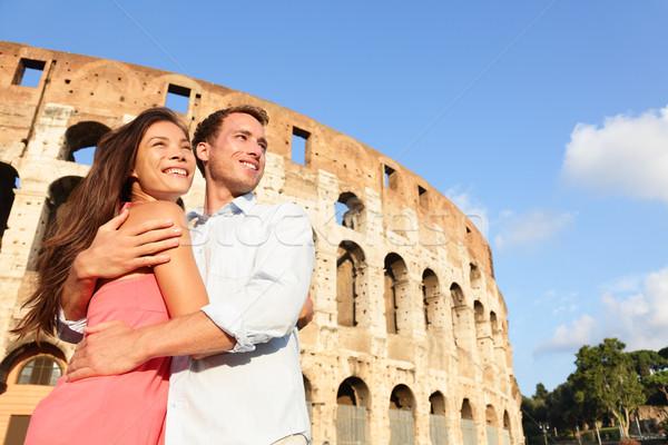 Romantic travel couple in Rome by Coliseum Stock photo © Maridav