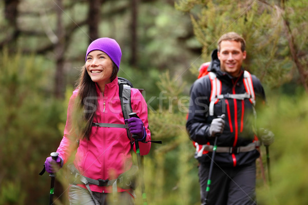 Hiking people - hikers trekking in forest on hike Stock photo © Maridav