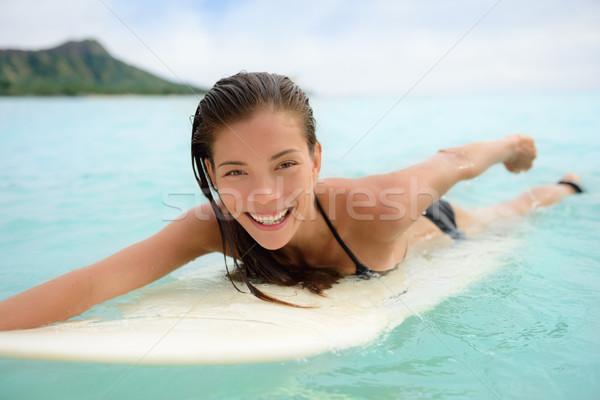 Portrait of surfer surfing fun Waikiki Beach  Stock photo © Maridav