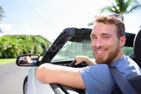 Jazdy samochodu człowiek szczęśliwy drogowego podróży Zdjęcia stock © Maridav