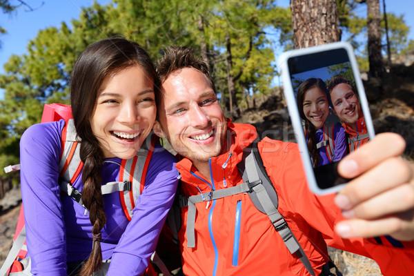 Mutlu arkadaşlar hikers yürüyüş yolculuk Stok fotoğraf © Maridav