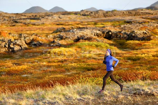 Woman trail runner running in mountain landscape Stock photo © Maridav
