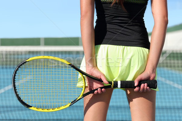 Tennis player holding racquet on outdoor court Stock photo © Maridav