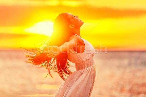 Stock fotó: Boldog · szabadság · nő · megnyugtató · napsütés · életstílus
